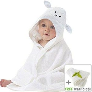 Hooded baby towel and washcloth