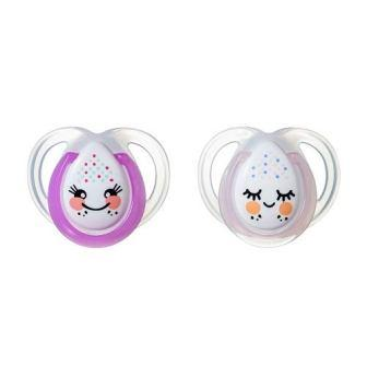 Tommee Tippee Glow in the Dark Soother 2 x Natural Latex Baby Dummy 6-12 Month