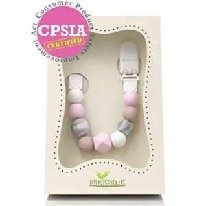 Teething pacifier clip