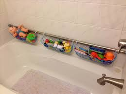 Shower rod with toy baskets