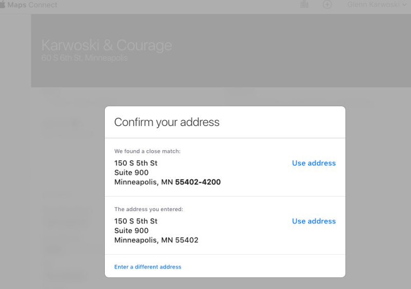 Screenshot: Apple Maps Connect Confirm Address