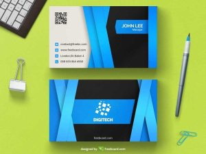 Glossy blue corporate business card