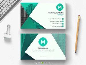 Green office business card template