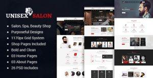 Unisex   Barber Shop Hair Spa and Beauty Salon PSD Template