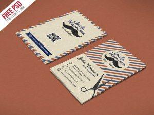 Creative Retro Barber Shop Business Card PSD Template