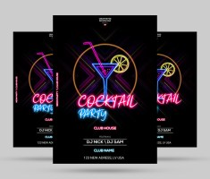 Neon Party Flyer Free PSD Template