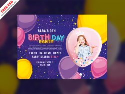 Birthday Party Invitation Card Freebie PSD Free Download