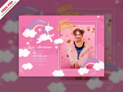 Birthday Party Invitation Card Creative Free PSD