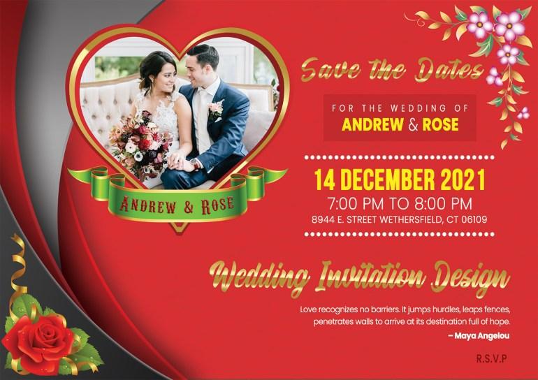 Wedding Invitation Card PSD