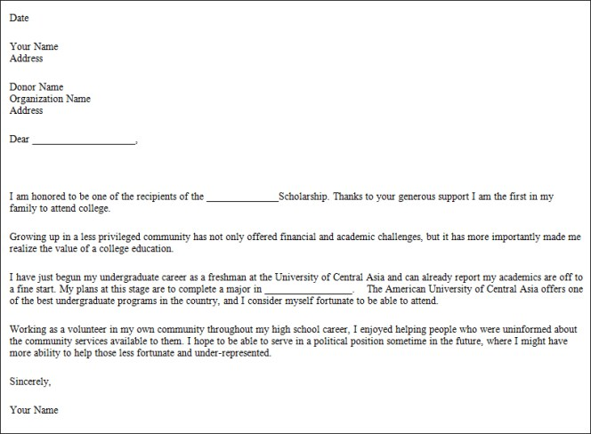 scholarship thank you letter sample