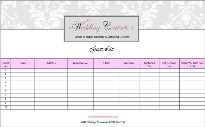Wedding Guest List Template Printable Sample Wedding Guest List – Printable Guest List Template