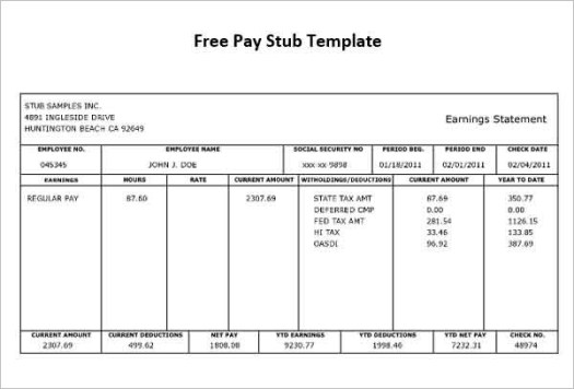 pay stub template free download