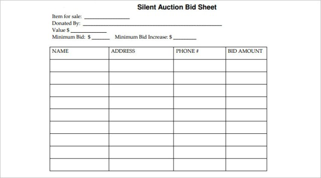 Silent Auction Bid Sheets Free Download Word Excel Pdf