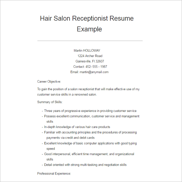 salon receptionist resume format hairsstyles co