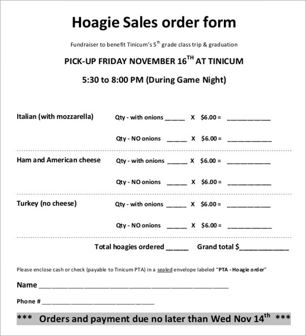 Fundraiser Forms Hoagie Order