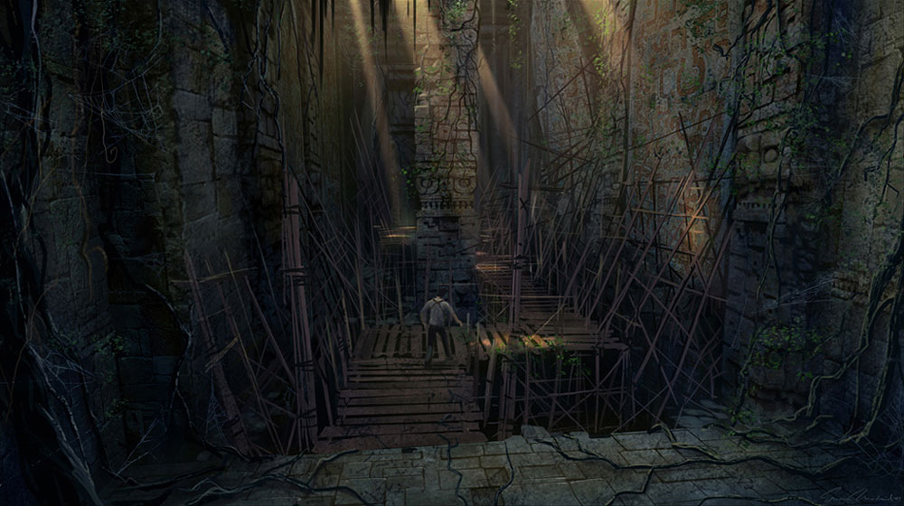 Underground Passage Scaffolding Characters Amp Art Uncharted Drakes Fortune