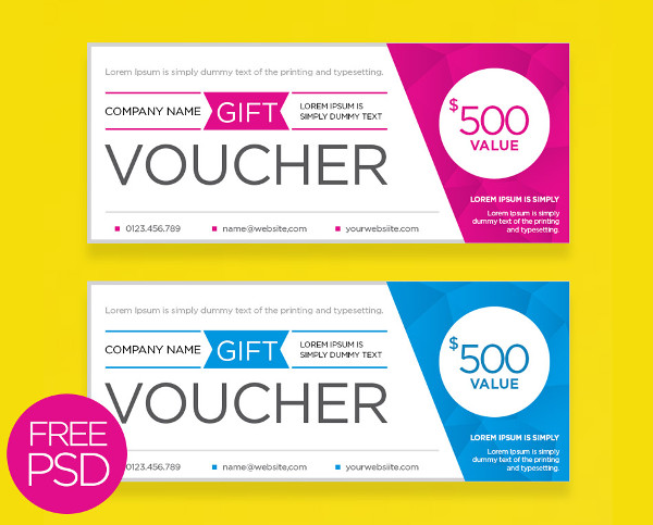 Free Download Clean and Modern Gift Voucher Template PSD