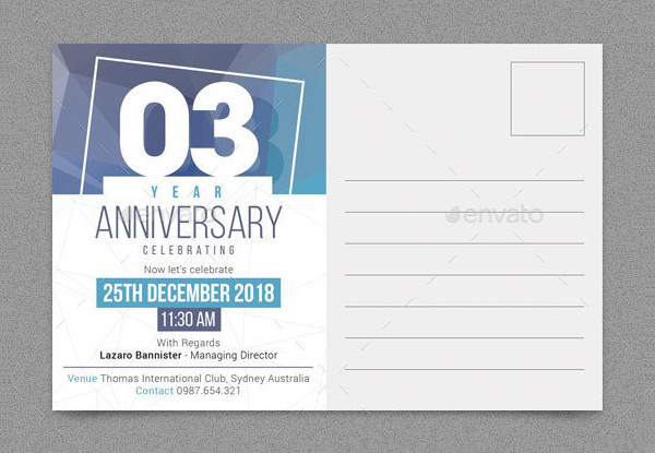 Anniversary Post Card Templates