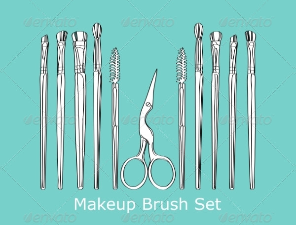 Cosmetic Brush and Scissors