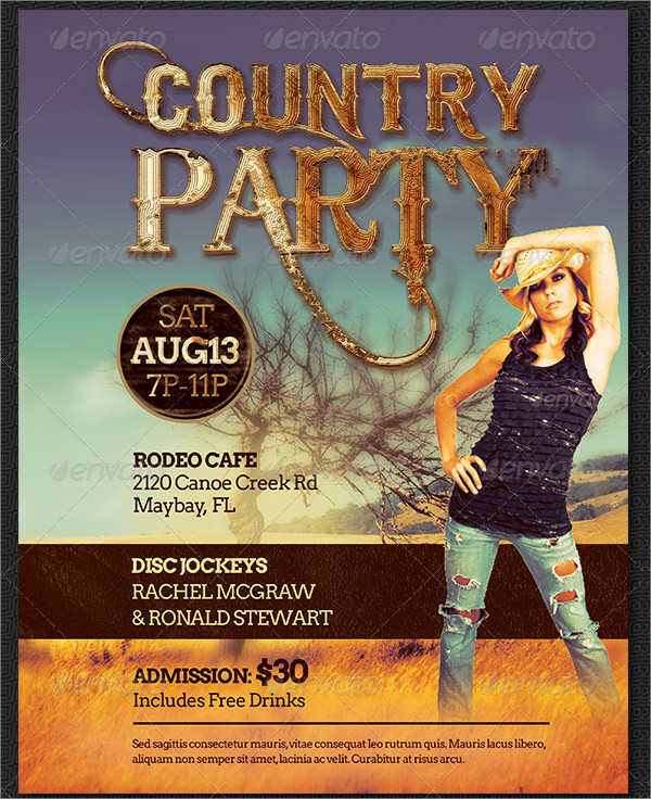 Country Party Flyer Template PSD