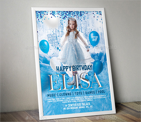 Frozen Birthday Invitation Poster Templates