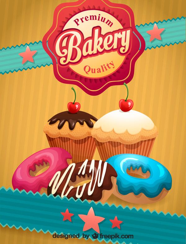 Retro Bakery Poster Template Free Vector