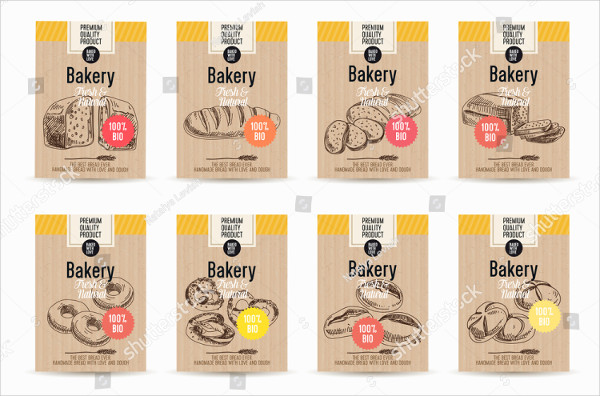 Hand Drawn Sketch Bakery Posters Set