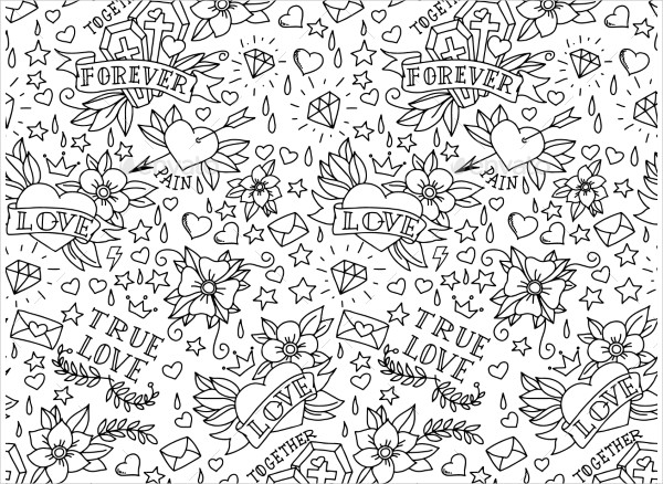 Hand Drawn Valentine's Day Tattoo Patterns