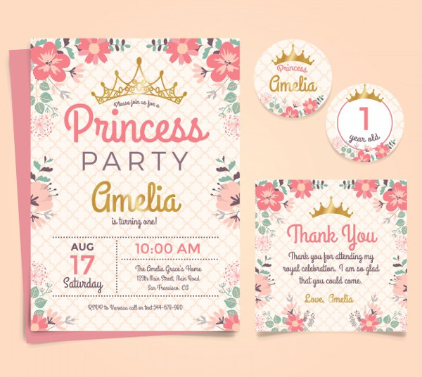 Princess Birthday Invitation Template Free Vector