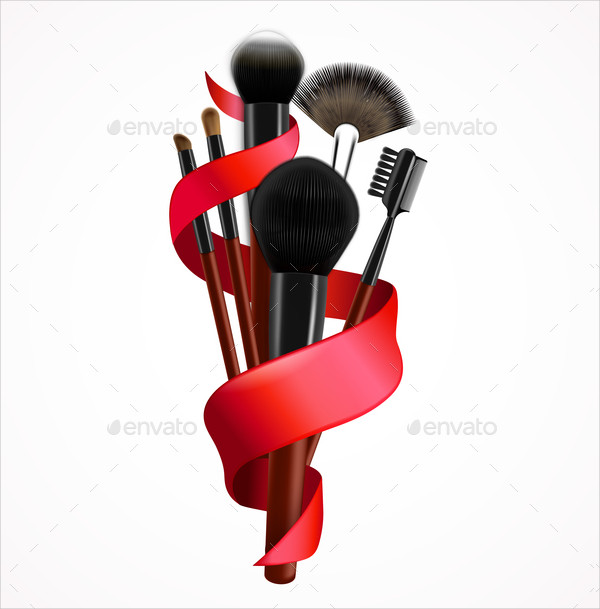 Realistic Makeup Brushes Composition