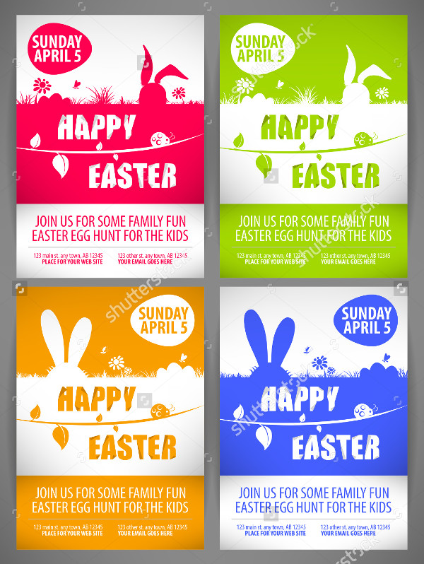 Vector Set of Easter Flyers