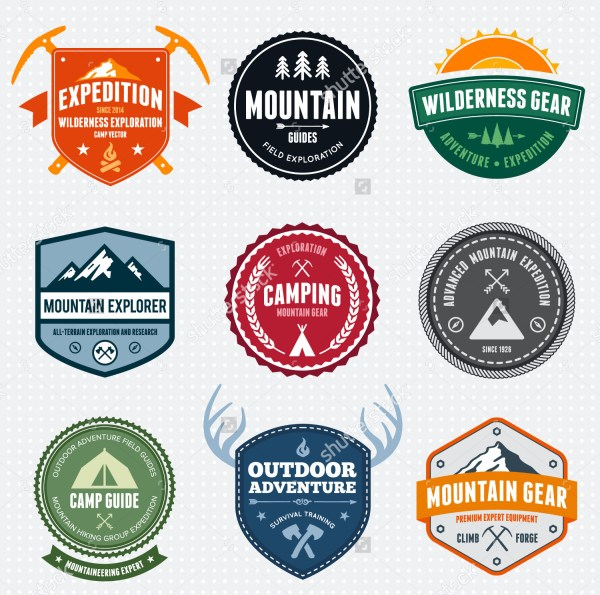 Set of Mountain Adventure and Expedition Logo badge