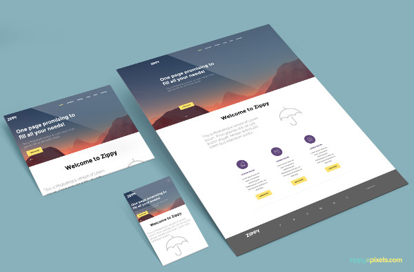 Free Perspective Website Mockup PSD