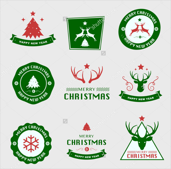 Set of Christmas Labels and Badges Vector Design