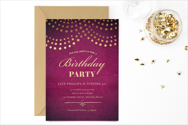 Elegant 50th Birthday Party Invitation Template