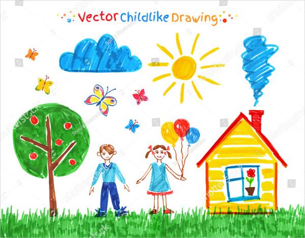 Felt Pen Child Drawings Vector Set