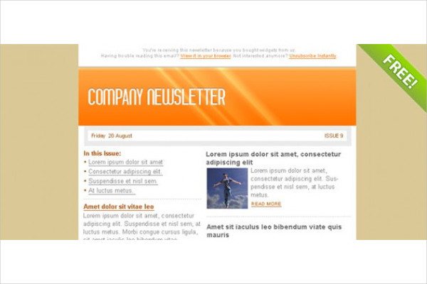 Free PSD Email Marketing Newsletter Template