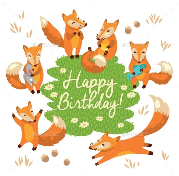 Happy Birthday Card with Funny Foxes