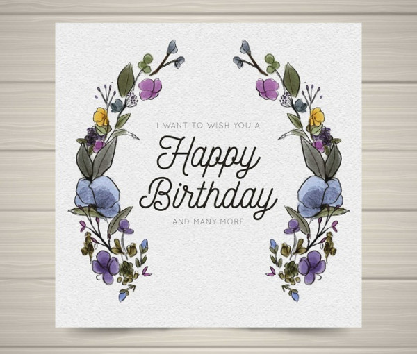 Happy Birthday Card with Watercolor Flowers Free