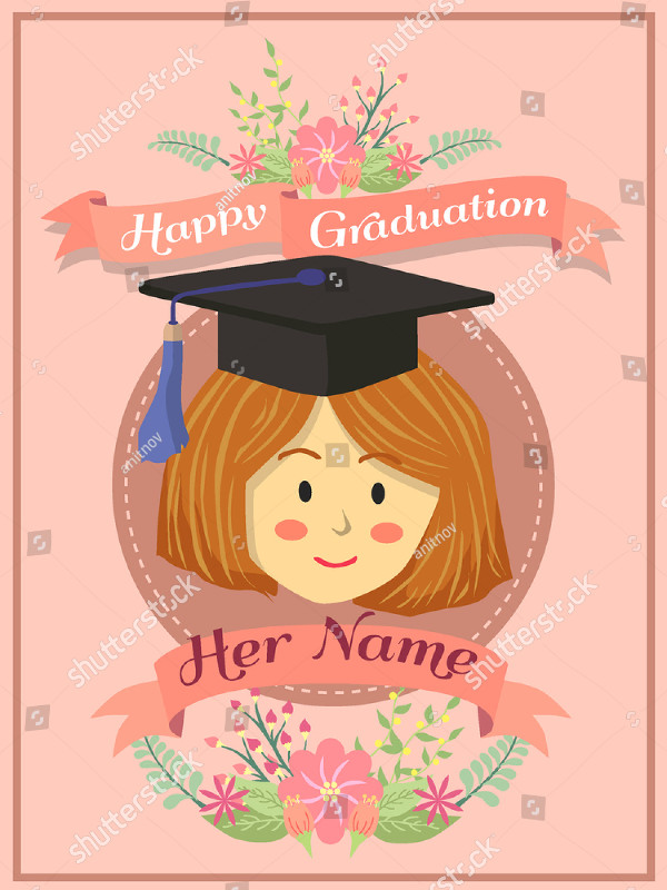 Happy Graduation Greeting Card with a Woman