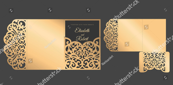 Laser Cut Tri Fold Pocket Envelope for Wedding Invitations