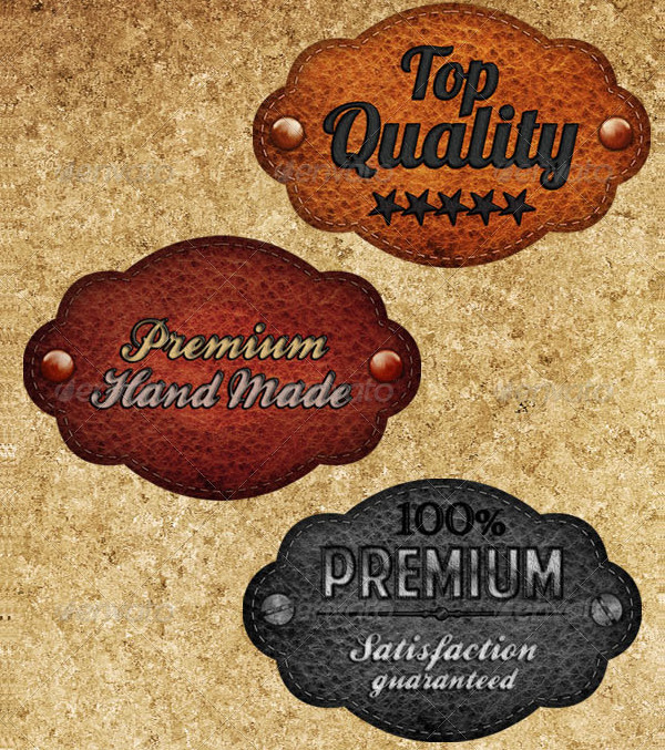 Collection of Leather Badges PSD