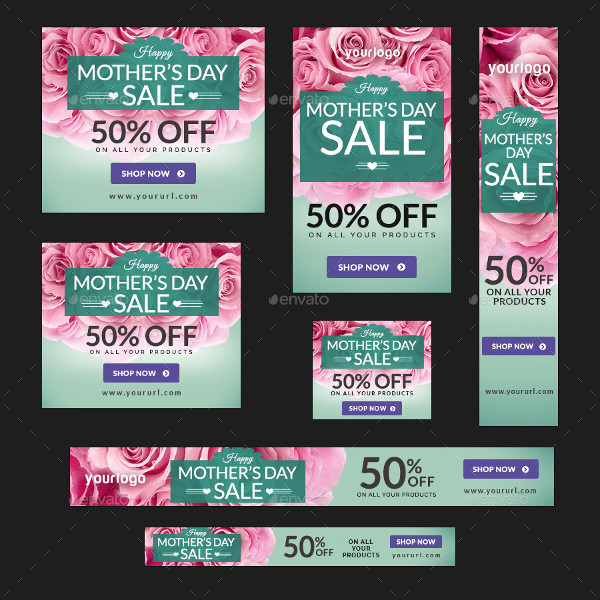 Mother's Day Sale Banners in Flat Design