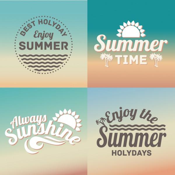 4 Vintage Badges for Summer Free Download