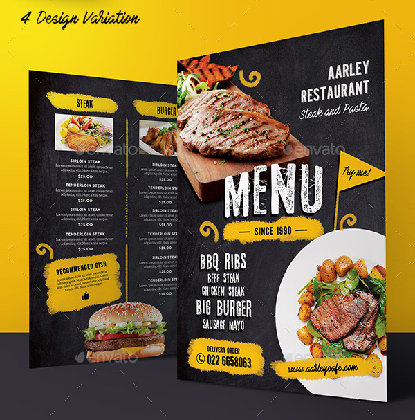 New Chalkboard Cafe Menu Template