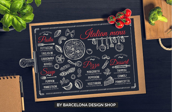 Printable Italian Menu Template