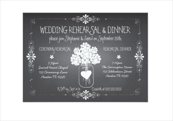 Wedding Rehearsal Chalkboard Invitation