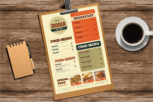 Retro Breakfast & Dinner Menu Template