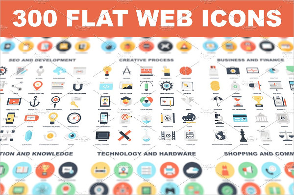 Simplistic Flat Web Icons Set