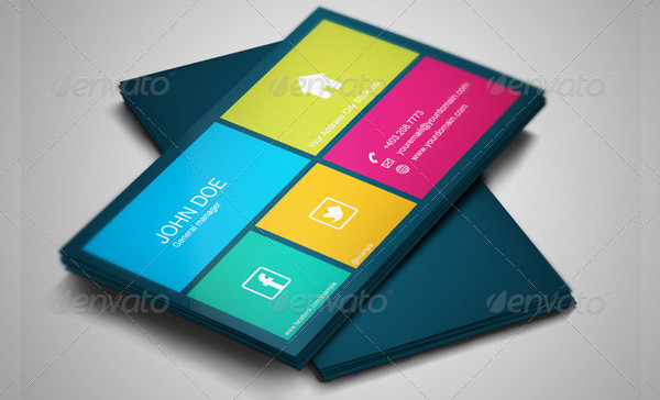 Square Business Card Design in Metro Style